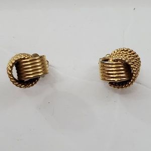 Avon Knot Earrings Gold Tone Stud Small Textured R